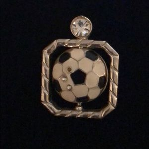 Jewelry - Soccer ball stone pendant Silver, black and white